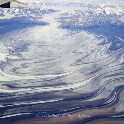 Glacier from 30000 ft by Sue Hartland