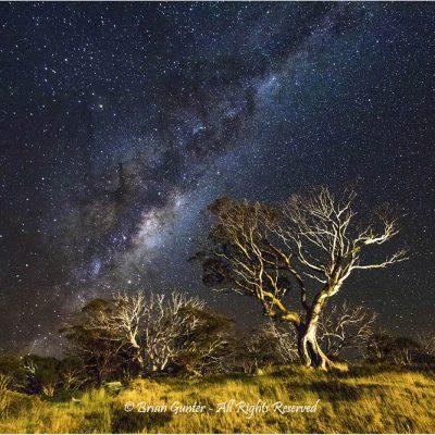 Snowy Mountains Nightscape by Brian Gunter