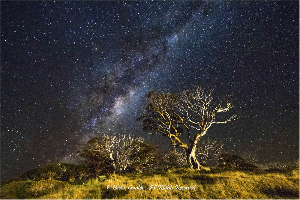 Snowy Mountains Nightscape by Brian Gunter